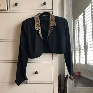 Vintage cropped leopard blazer with shoulder pads